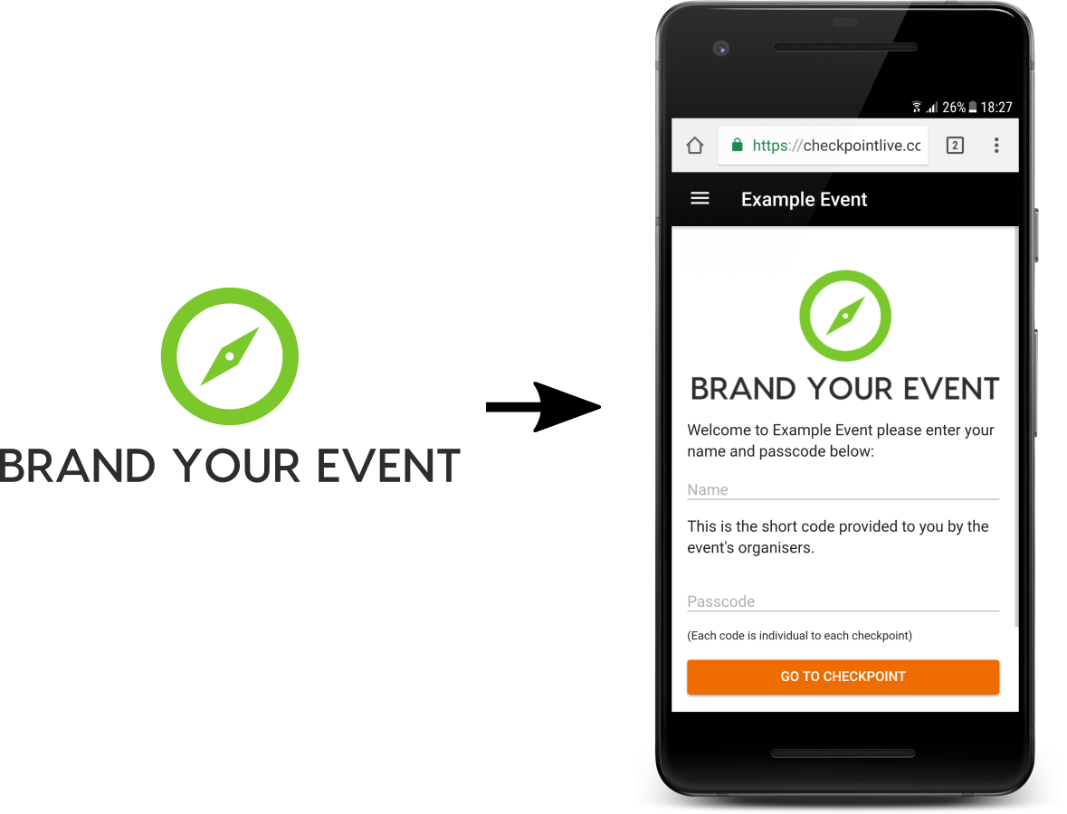 Brand your event, image of branding within the event created by you in Checkpoint Live.